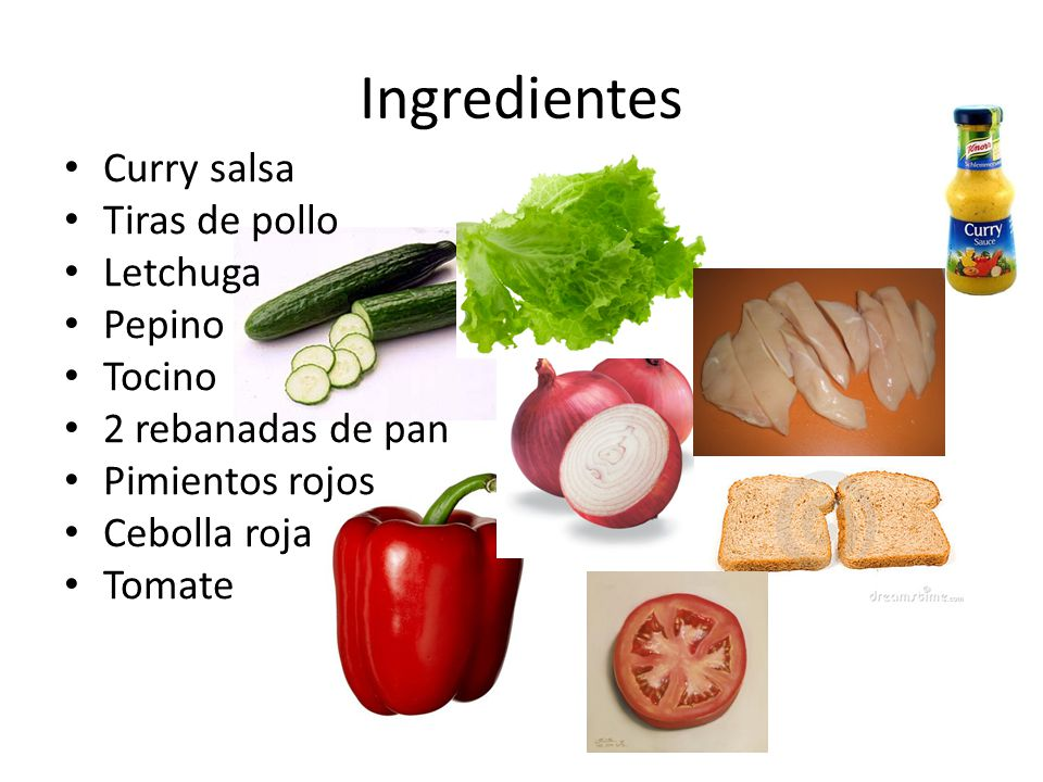 Ingredientes Curry salsa Tiras de pollo Letchuga Pepino Tocino