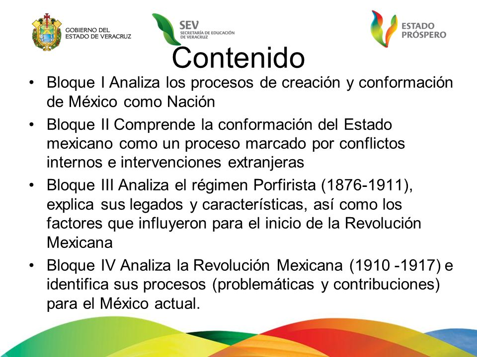 Contenido Bloque I Analiza los procesos de creación y conformación de México como Nación.