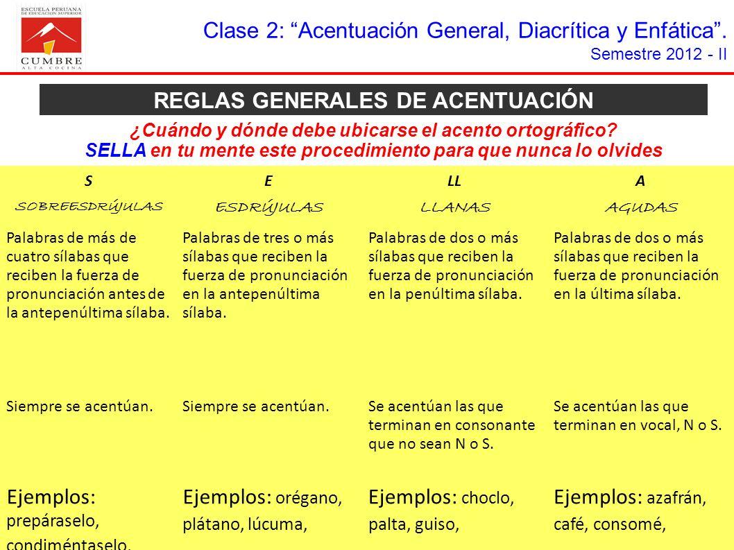 REGLAS GENERALES DE ACENTUACIÓN