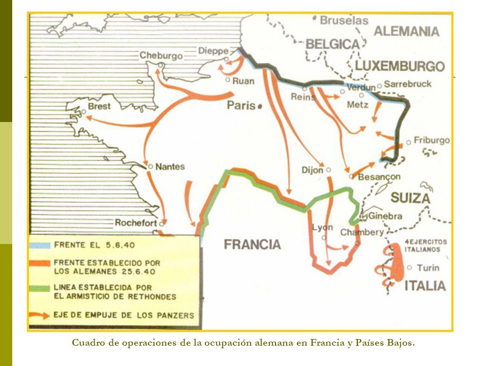 Cuadro de operaciones de la ocupación alemana en Francia y Países Bajos.