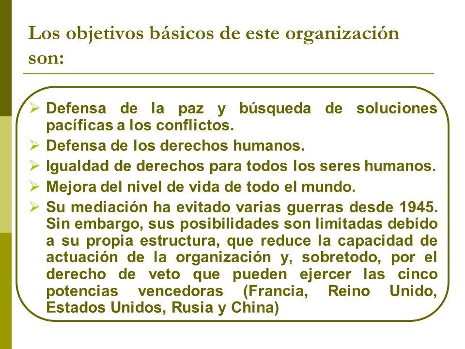 Los objetivos básicos de este organización son: