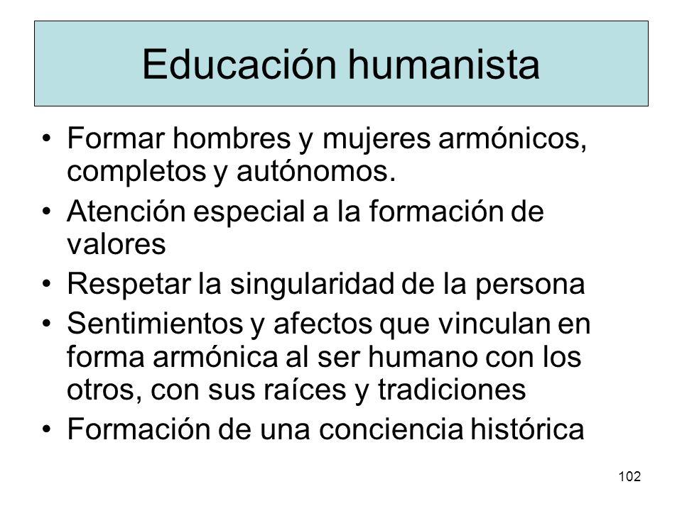 Educación humanista Formar hombres y mujeres armónicos, completos y autónomos. Atención especial a la formación de valores.