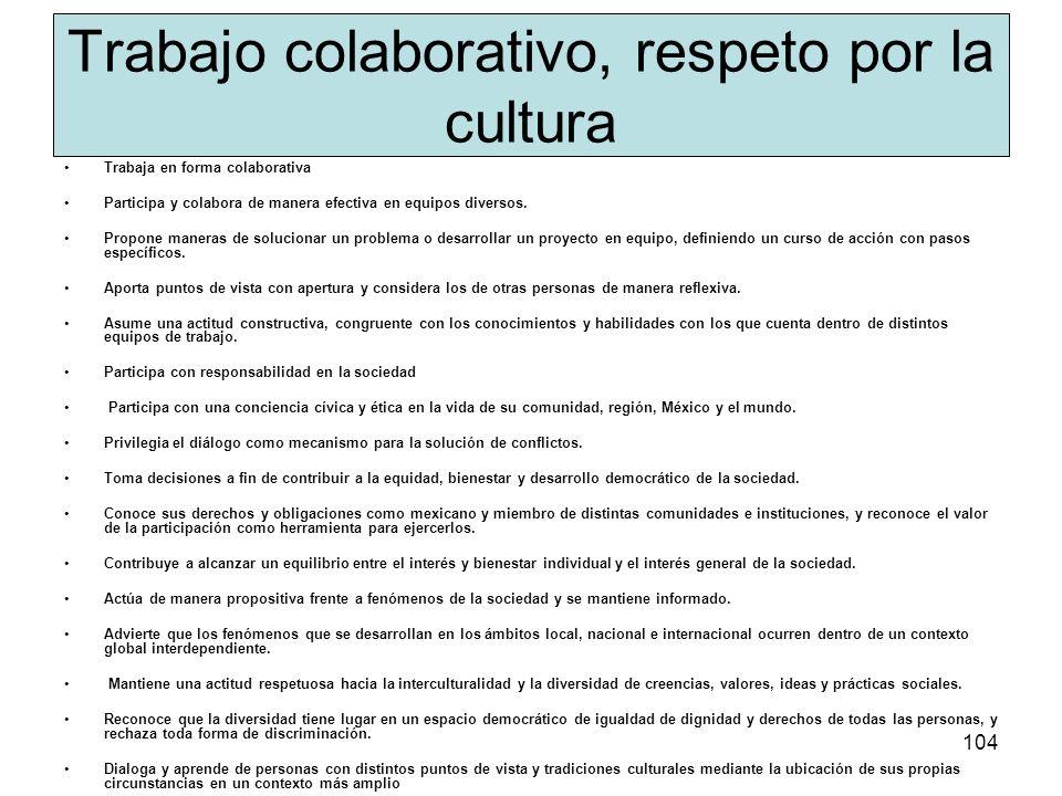 Trabajo colaborativo, respeto por la cultura