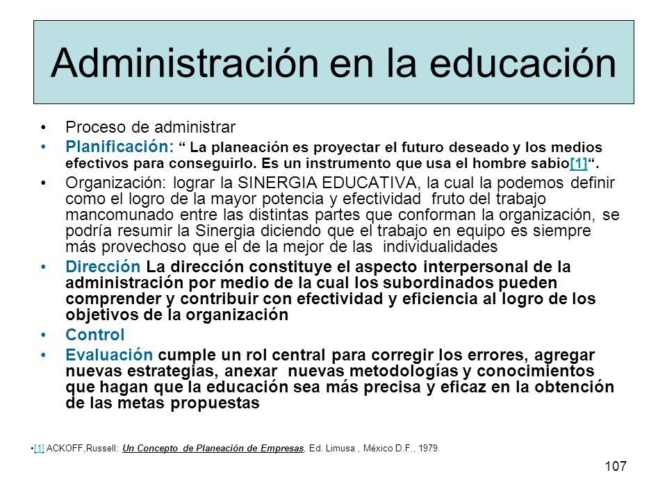 Administración en la educación