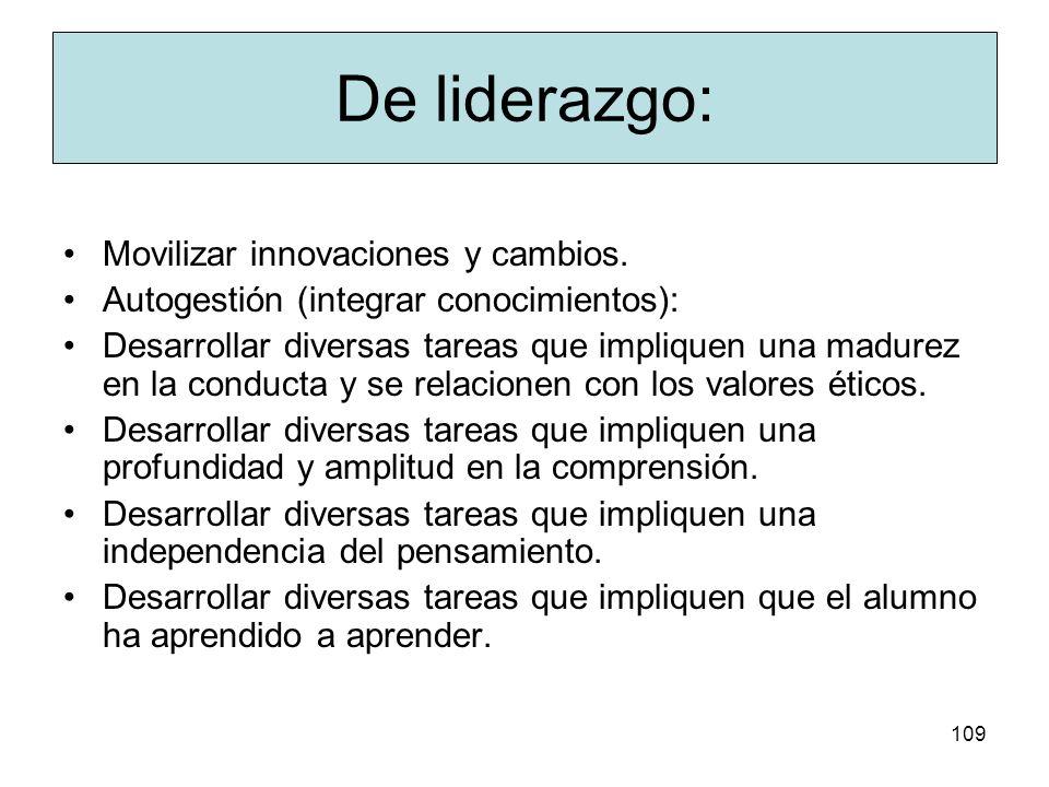 De liderazgo: Movilizar innovaciones y cambios.