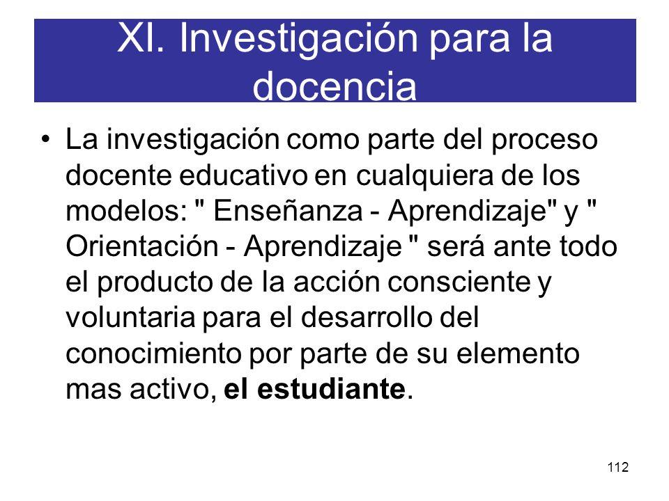 XI. Investigación para la docencia