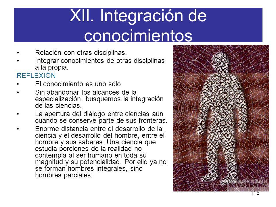XII. Integración de conocimientos