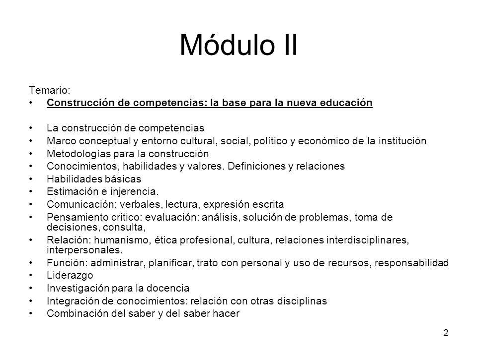 Módulo II Temario: Construcción de competencias: la base para la nueva educación. La construcción de competencias.