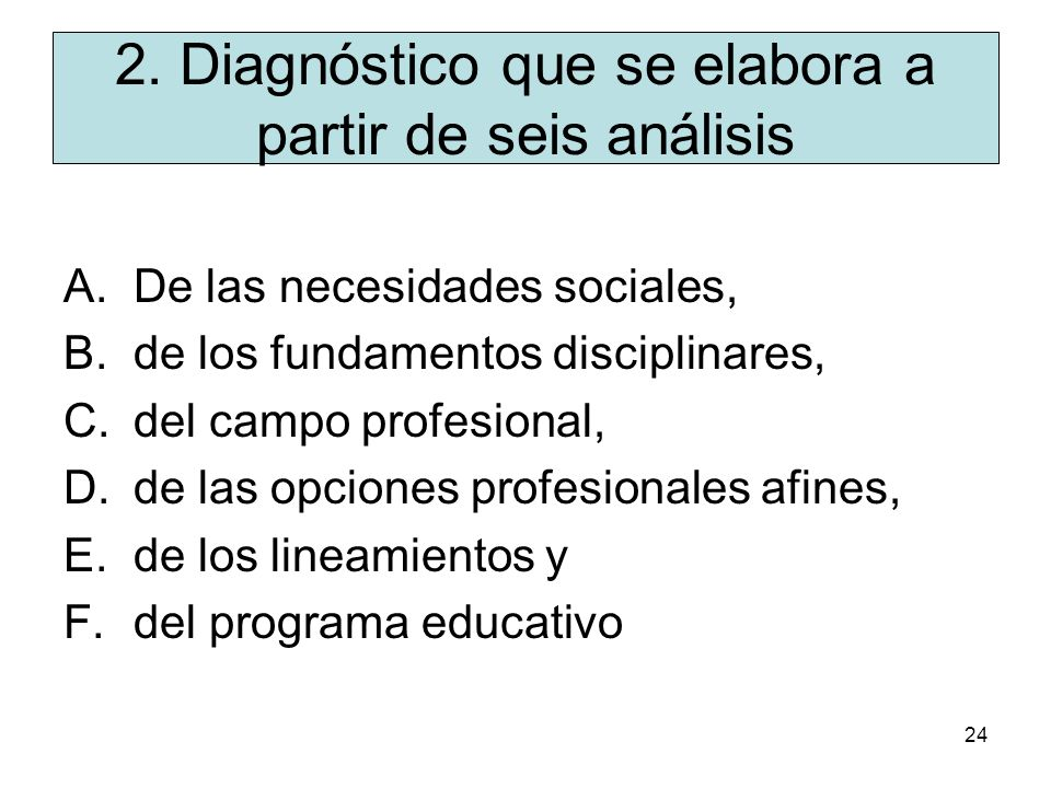 2. Diagnóstico que se elabora a partir de seis análisis