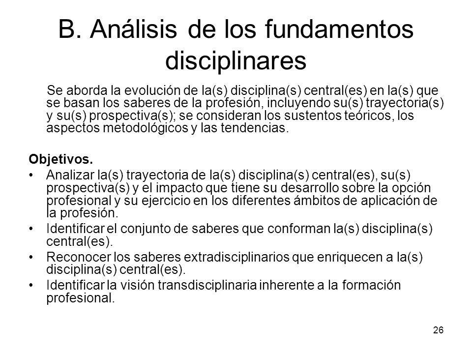 B. Análisis de los fundamentos disciplinares