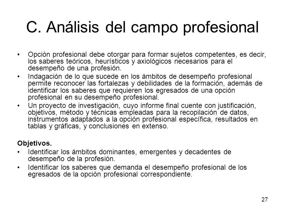 C. Análisis del campo profesional