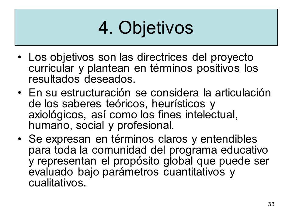 4. Objetivos Los objetivos son las directrices del proyecto curricular y plantean en términos positivos los resultados deseados.
