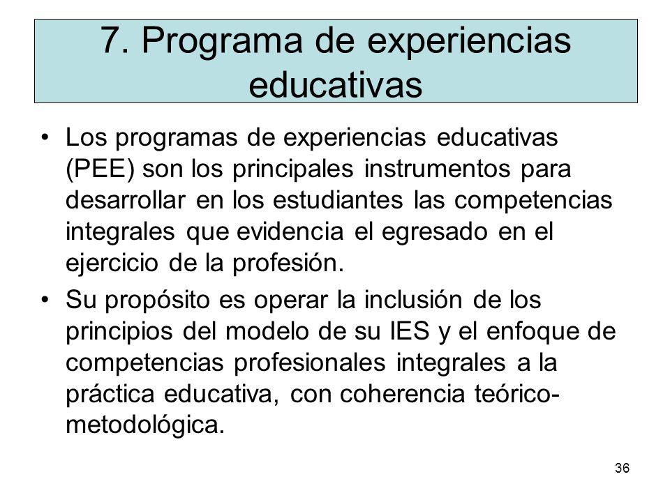 7. Programa de experiencias educativas