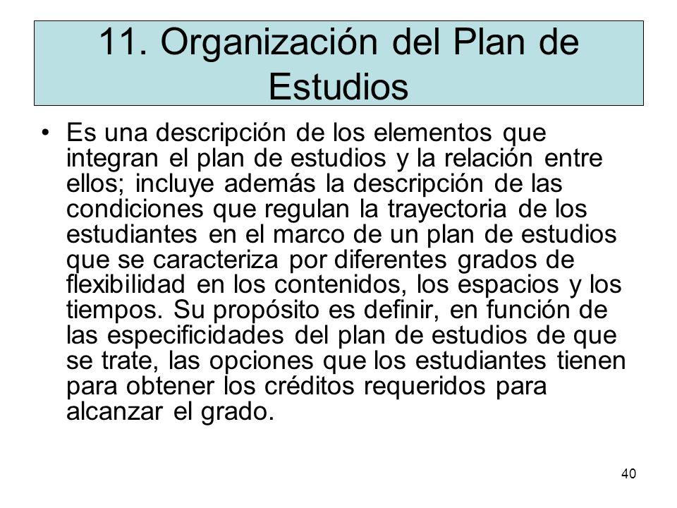 11. Organización del Plan de Estudios