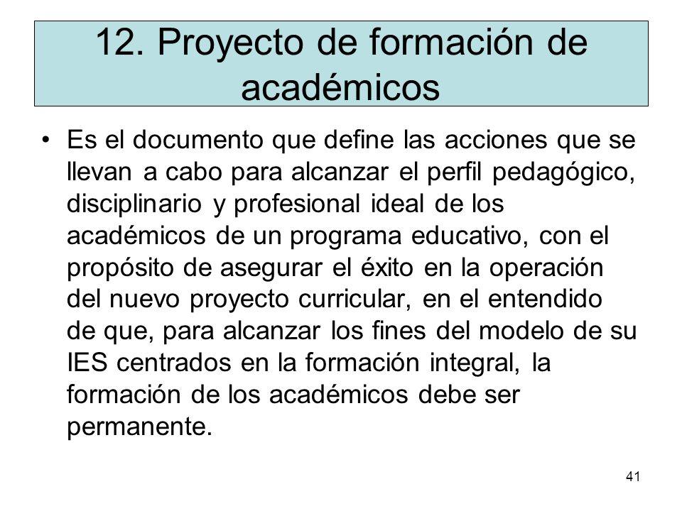 12. Proyecto de formación de académicos