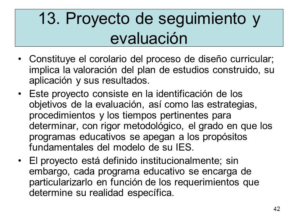 13. Proyecto de seguimiento y evaluación