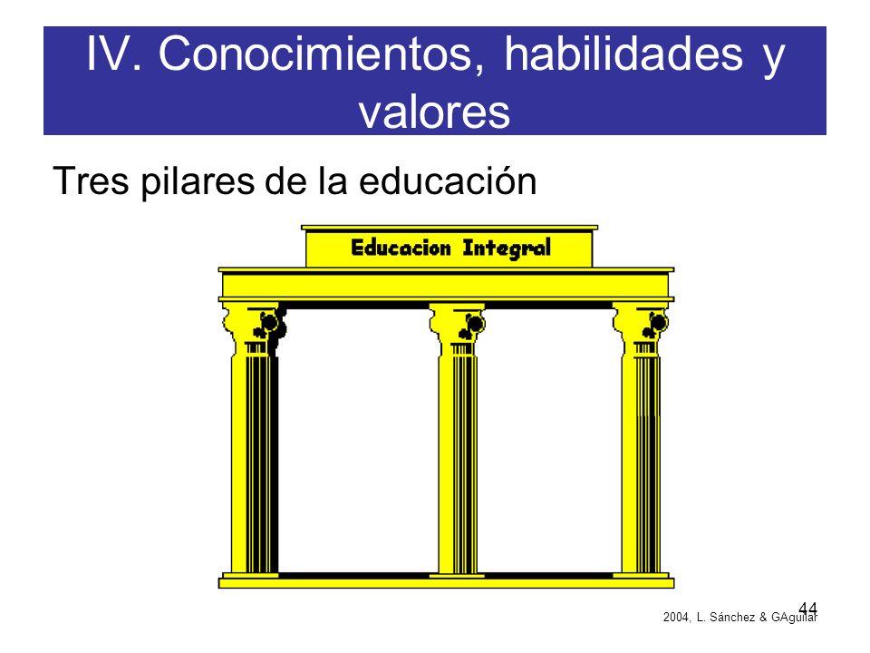 IV. Conocimientos, habilidades y valores