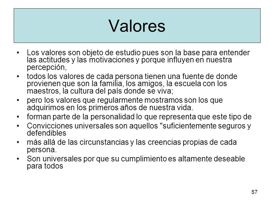 ValoresLos valores son objeto de estudio pues son la base para entender las actitudes y las motivaciones y porque influyen en nuestra percepción,