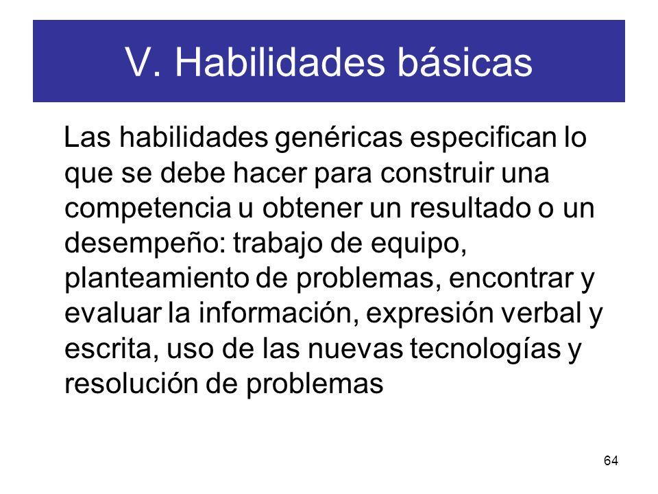 V. Habilidades básicas