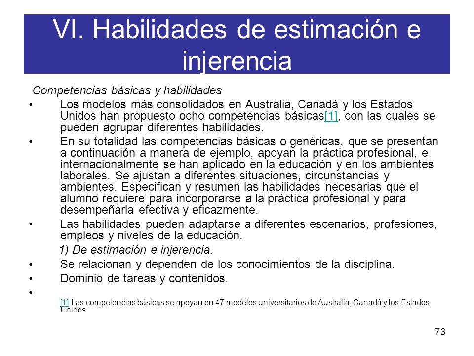 VI. Habilidades de estimación e injerencia