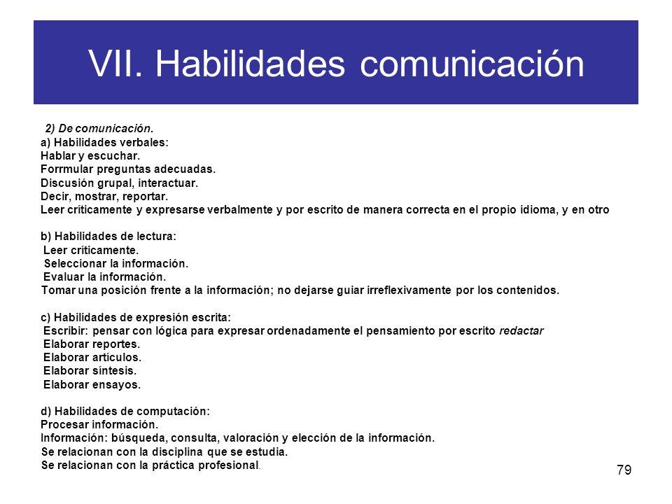 VII. Habilidades comunicación