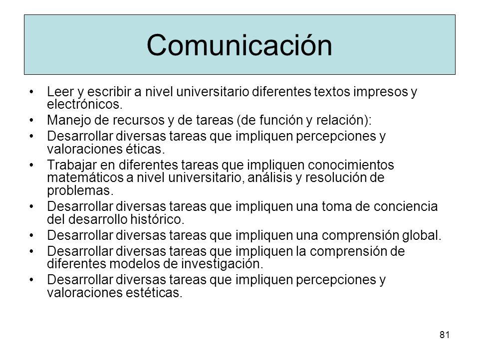 ComunicaciónLeer y escribir a nivel universitario diferentes textos impresos y electrónicos. Manejo de recursos y de tareas (de función y relación):