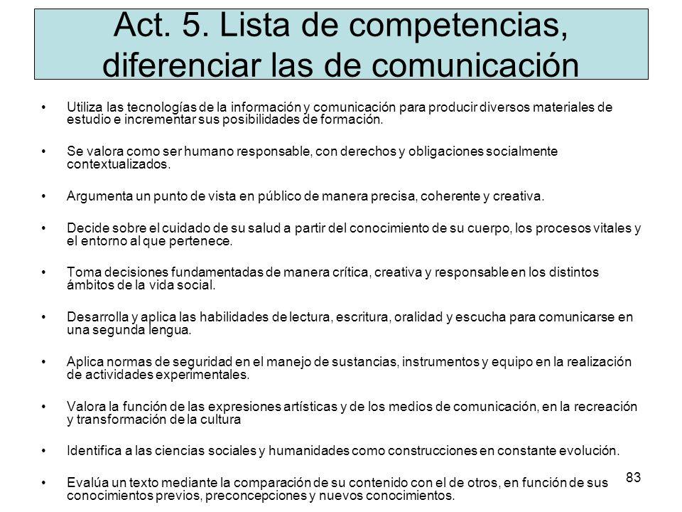 Act. 5. Lista de competencias, diferenciar las de comunicación