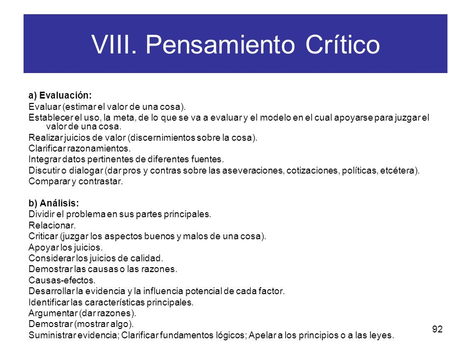 VIII. Pensamiento Crítico