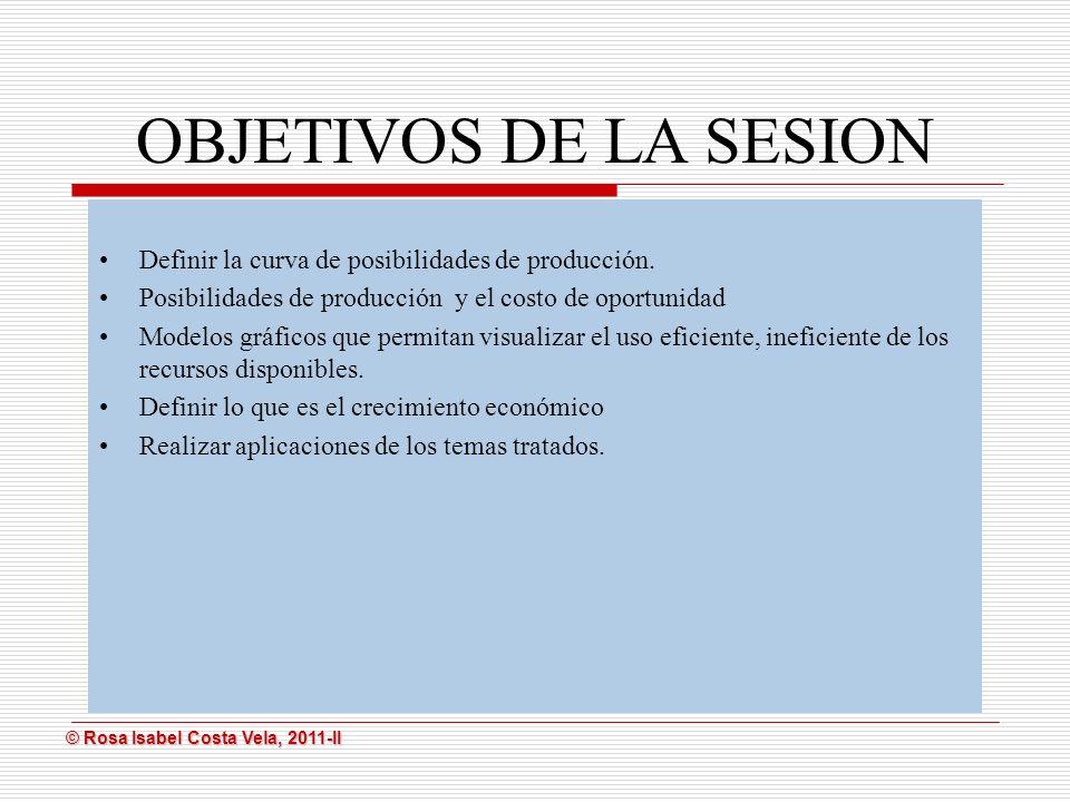 OBJETIVOS DE LA SESION Definir la curva de posibilidades de producción. Posibilidades de producción y el costo de oportunidad.