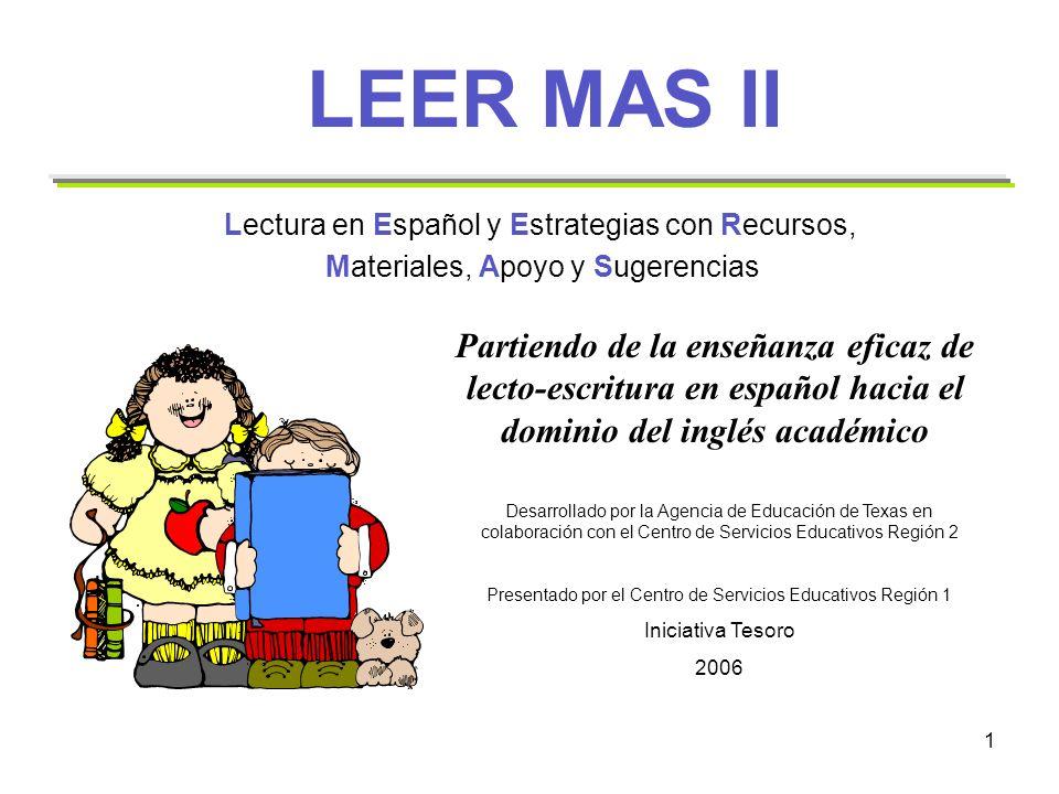 LEER MAS II Lectura en Español y Estrategias con Recursos, Materiales, Apoyo y Sugerencias.