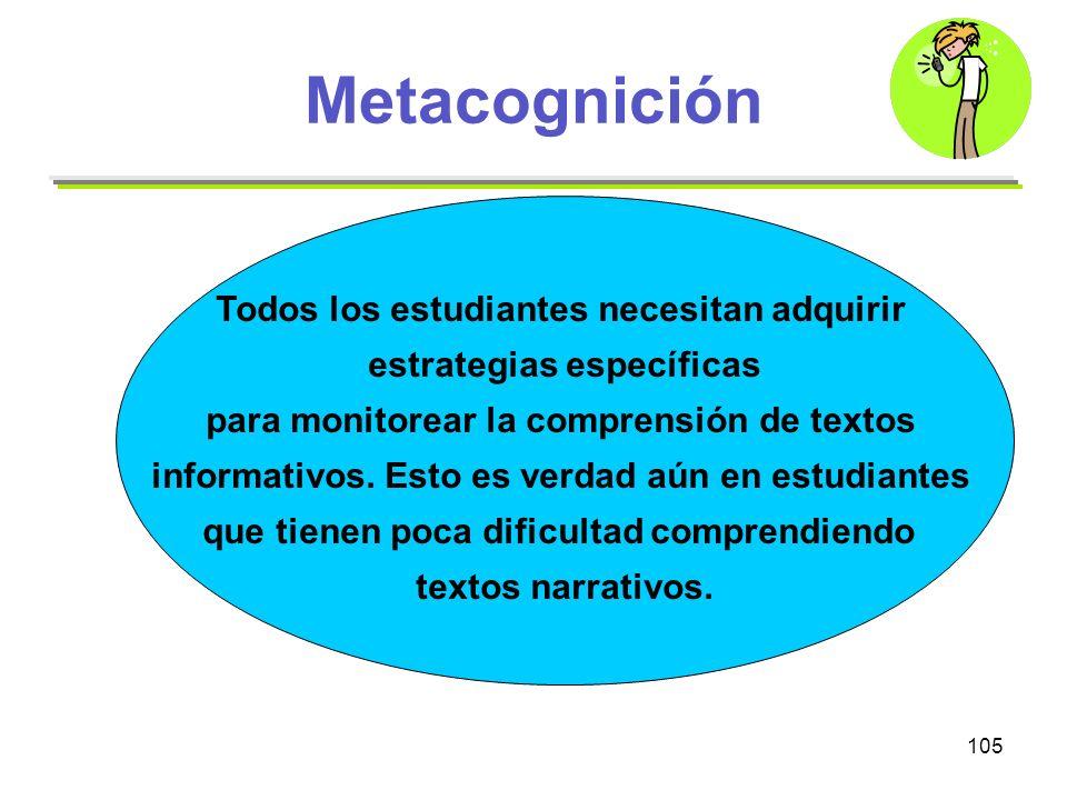 Metacognición Todos los estudiantes necesitan adquirir