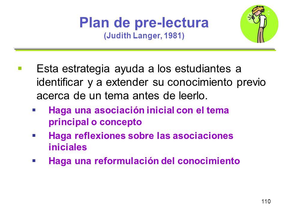 Plan de pre-lectura (Judith Langer, 1981)