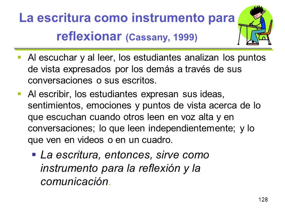 La escritura como instrumento para reflexionar (Cassany, 1999)
