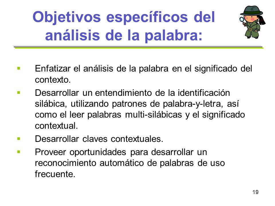 Objetivos específicos del análisis de la palabra: