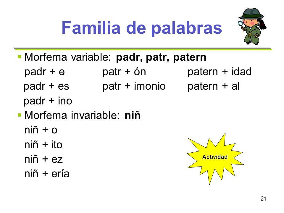 Familia de palabras Morfema variable: padr, patr, patern