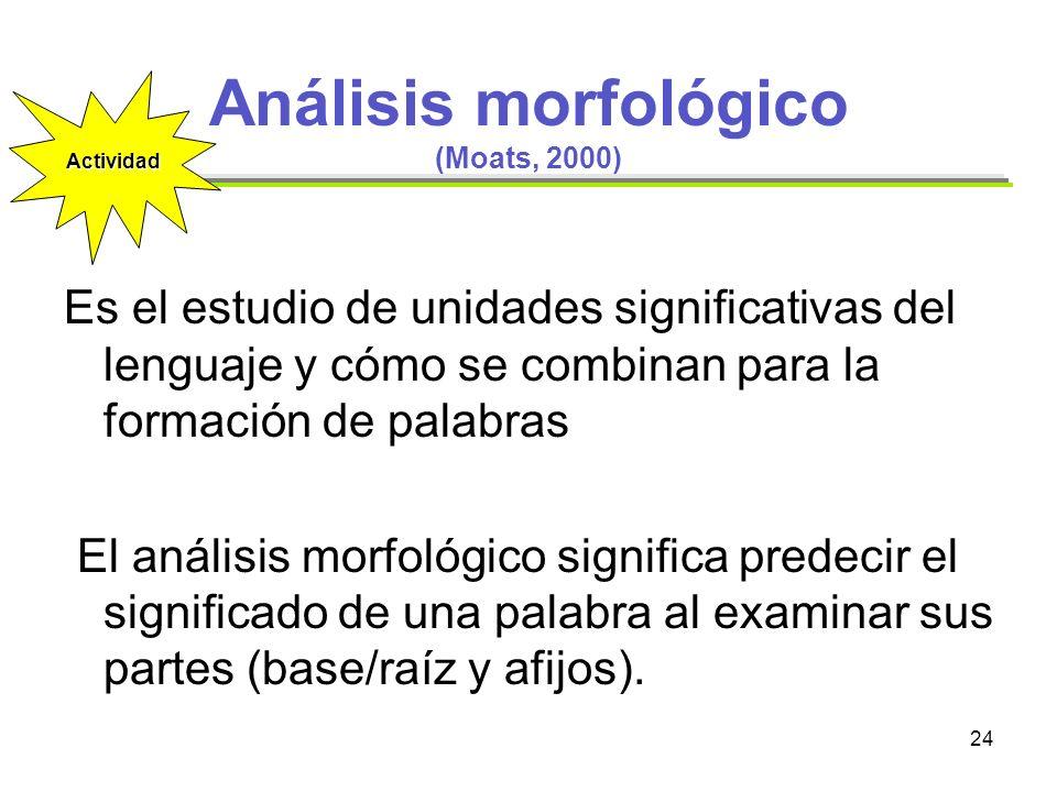 Análisis morfológico (Moats, 2000)