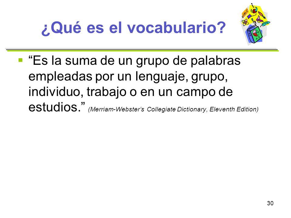 ¿Qué es el vocabulario