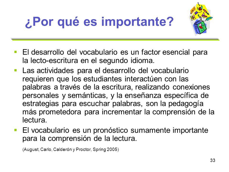 ¿Por qué es importante El desarrollo del vocabulario es un factor esencial para la lecto-escritura en el segundo idioma.