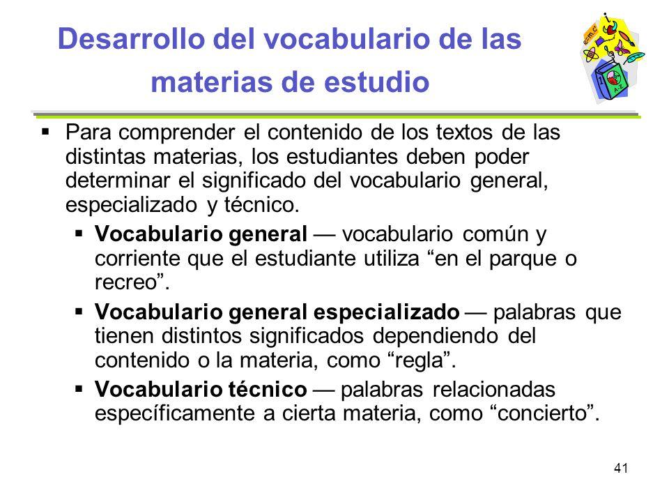 Desarrollo del vocabulario de las materias de estudio
