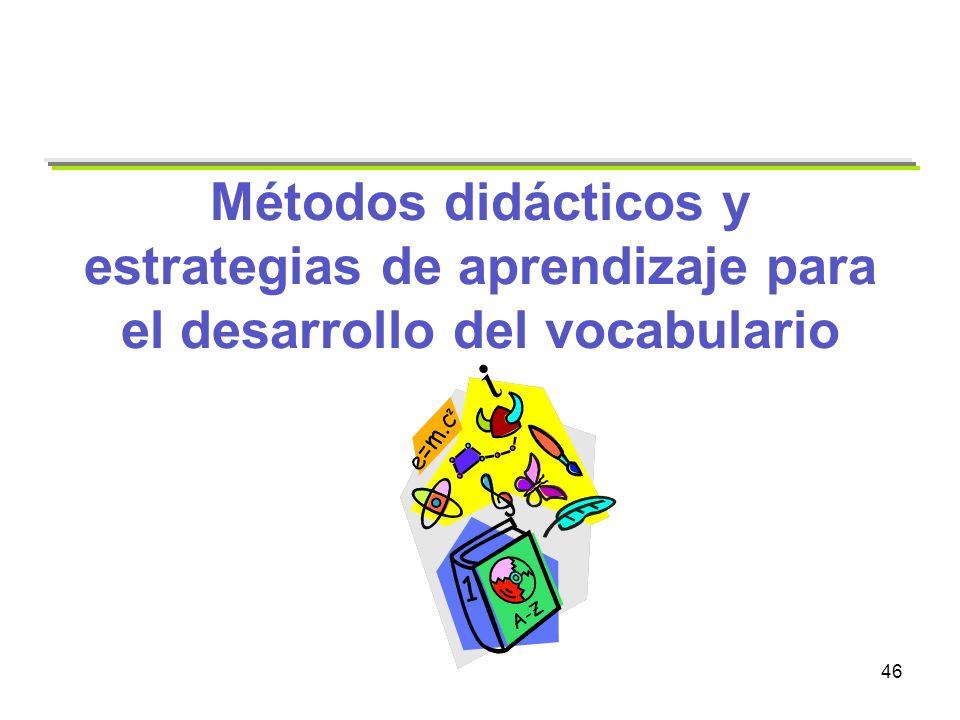 Métodos didácticos y estrategias de aprendizaje para el desarrollo del vocabulario