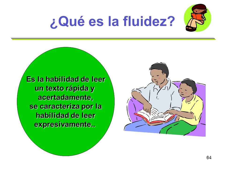 ¿Qué es la fluidez Es la habilidad de leer un texto rápida y
