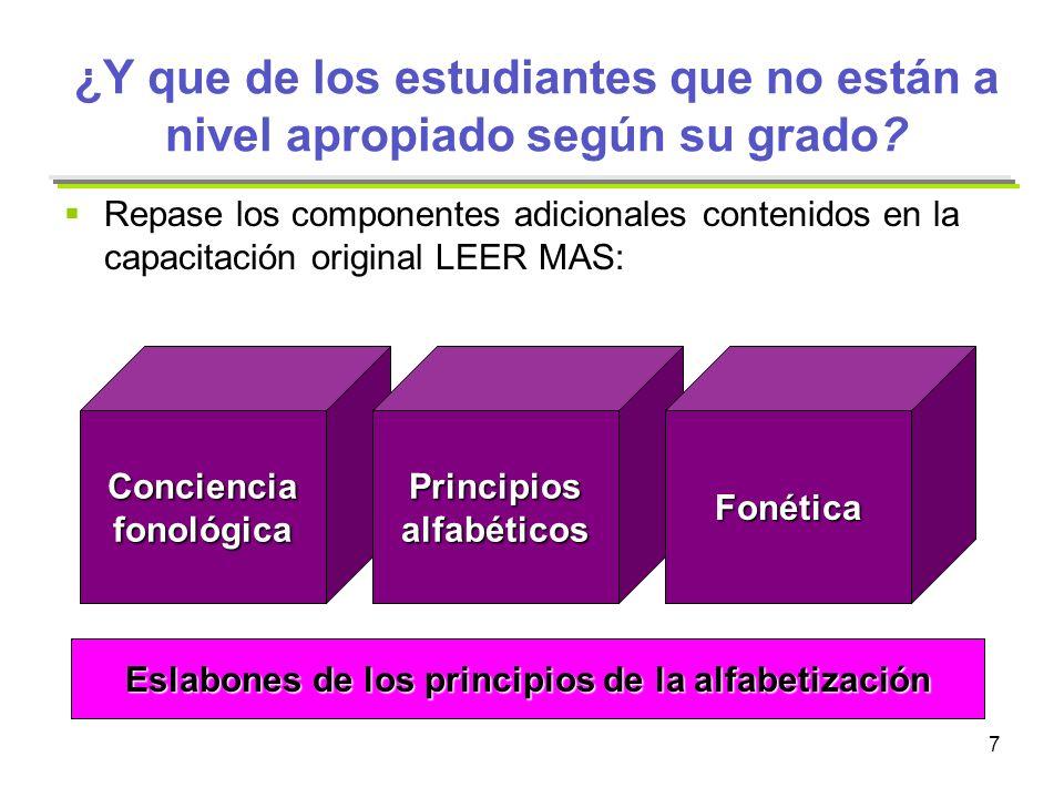 Eslabones de los principios de la alfabetización
