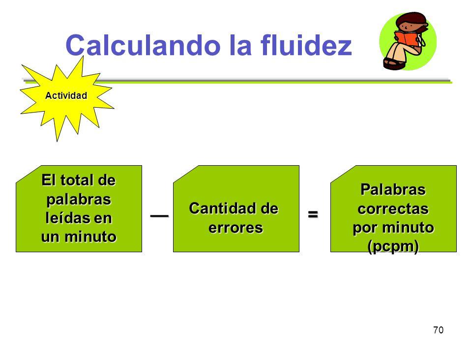 Calculando la fluidez — = El total de palabras leídas en un minuto