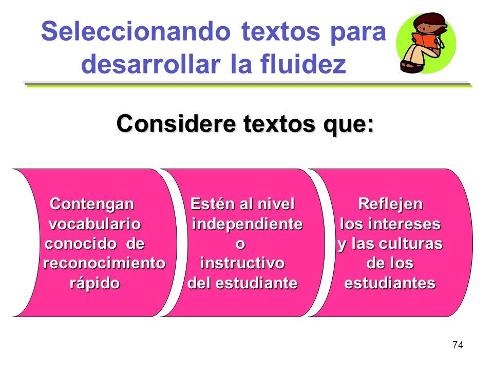 Seleccionando textos para desarrollar la fluidez