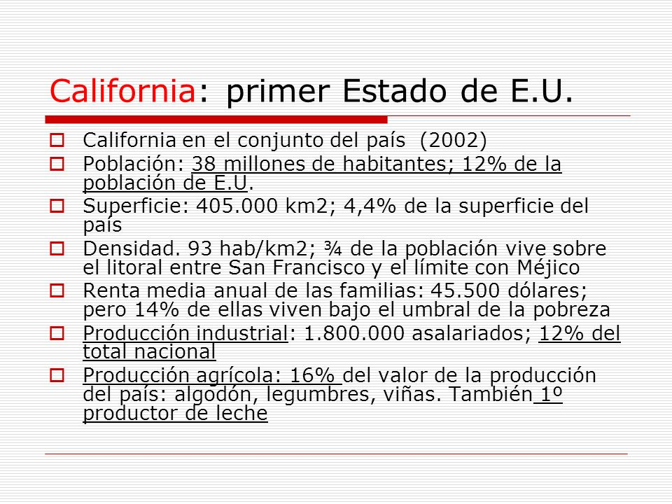 California: primer Estado de E.U.