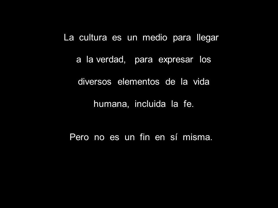 La cultura es un medio para llegar a la verdad, para expresar los