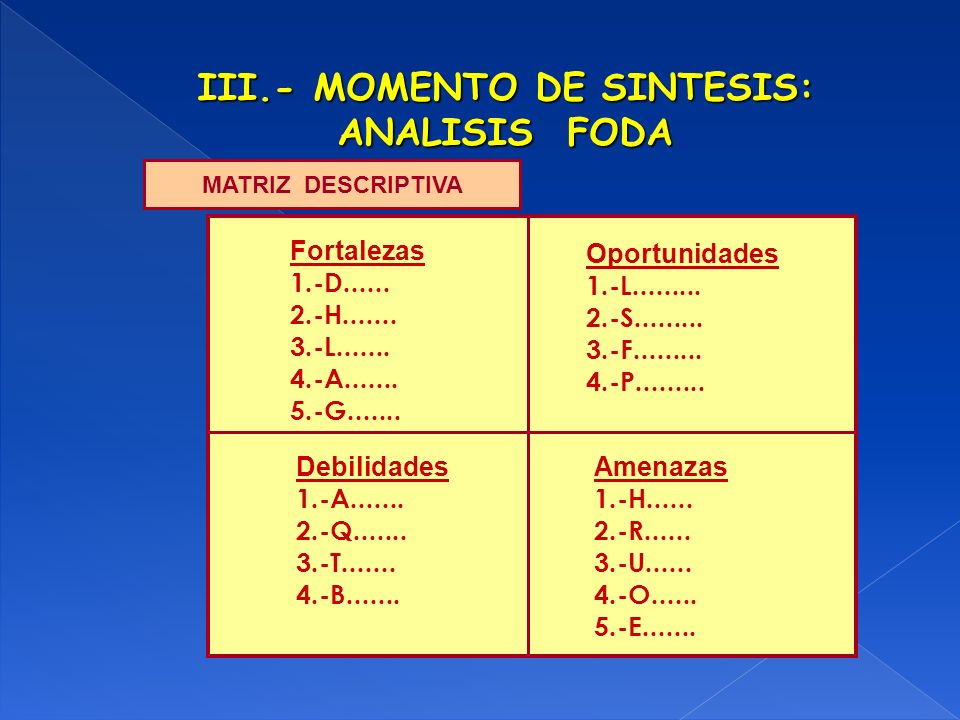 III.- MOMENTO DE SINTESIS: