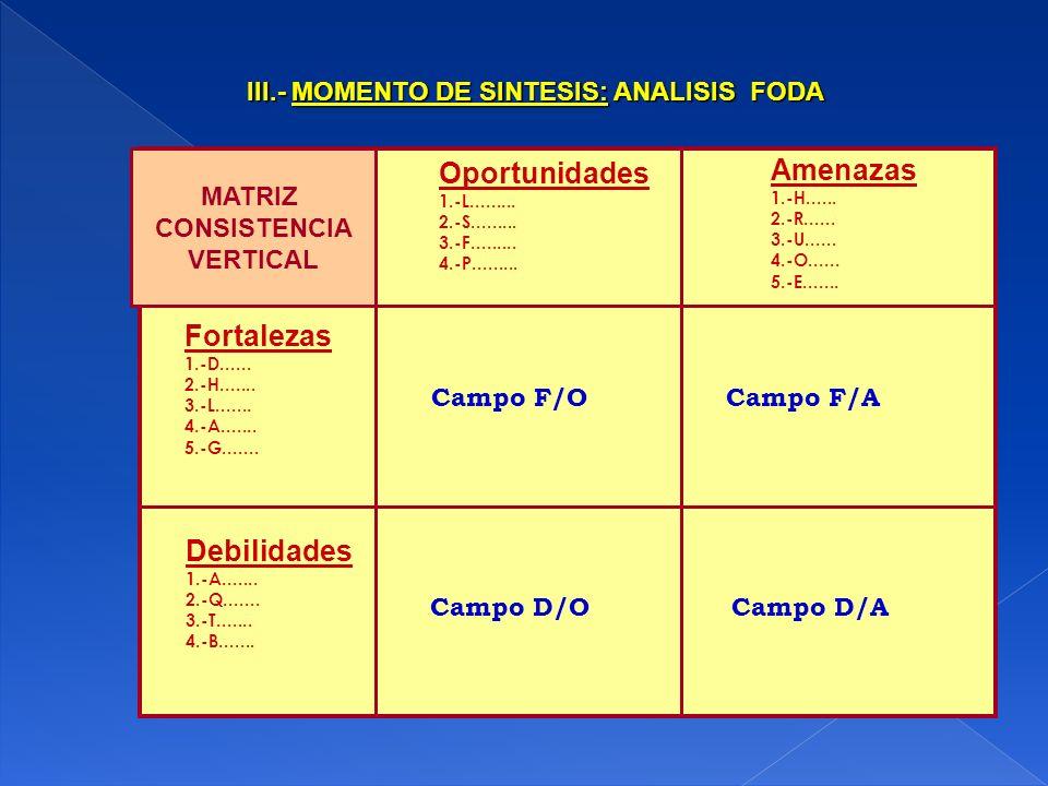 III.- MOMENTO DE SINTESIS: ANALISIS FODA