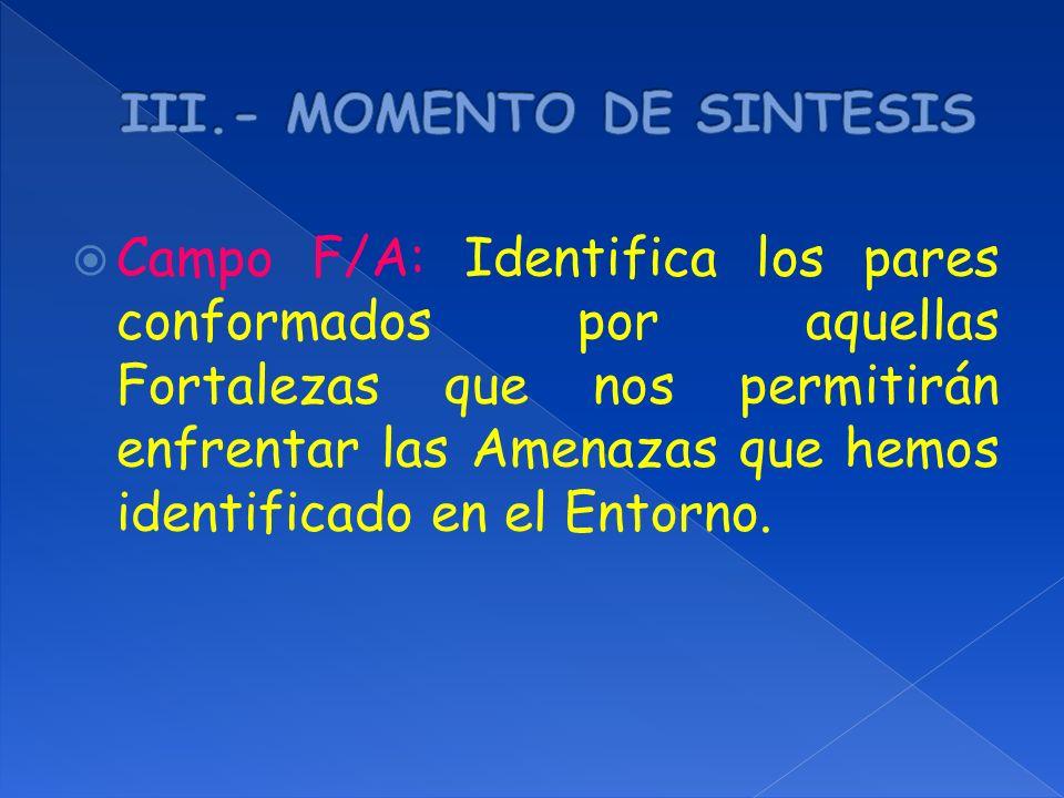 III.- MOMENTO DE SINTESIS