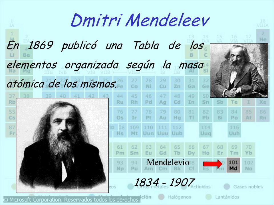 Dmitri Mendeleev En 1869 publicó una Tabla de los elementos organizada según la masa atómica de los mismos.